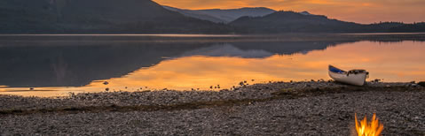 Sunset on the shore of Derwentwater